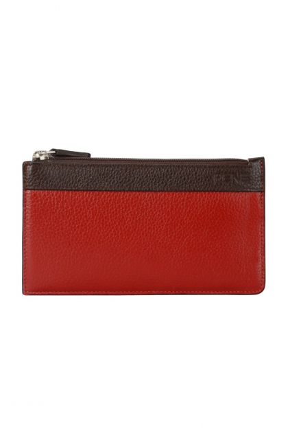 Genuine Leather Red & Brown Key Case