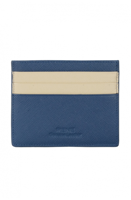 Genuine Leather Navy & Off-white Card Holder